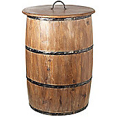 Parlane Large Natural Wooden Barrel With Lid - 58 x 42cm