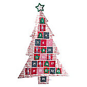 Large Christmas Tree Fabric Advent Calendar with Red Text Print