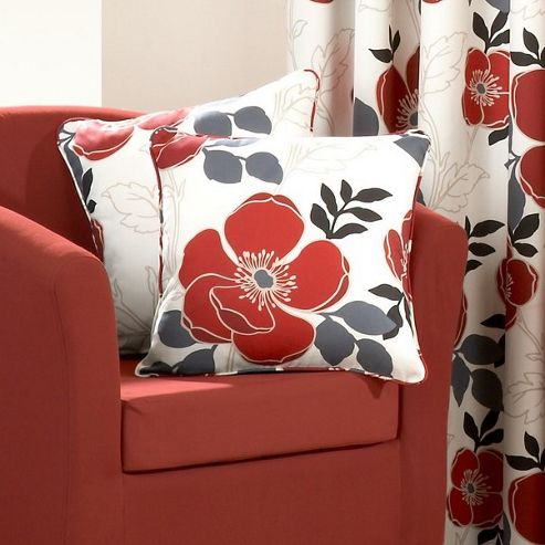 Dreams N Drapes Darina Single Cushion Cover in Red