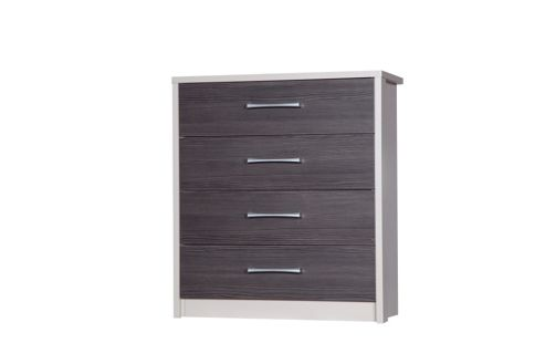 Alto Furniture Avola 4 Drawer Chest - Cream Carcass With Grey Avola