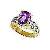 QP Jewellers Diamond & Amethyst Renaissance Ring in 14K Gold