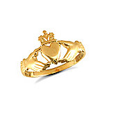 9ct Solid Gold light weight polished Claddagh Ring