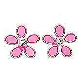 Girl's Sterling Silver and Pink Resin Flower Earrings
