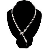 Mesmerizing Silver Tone Snake Choker Necklace - 44cm Length