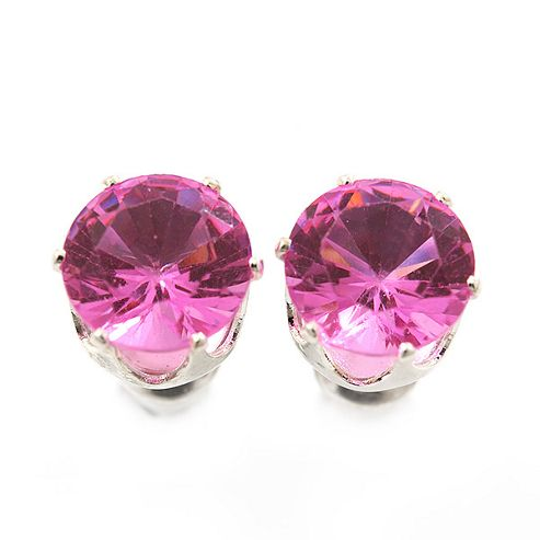 Classic Pink Crystal Round Cut Stud Earrings In Silver Plating - 8mm Diameter