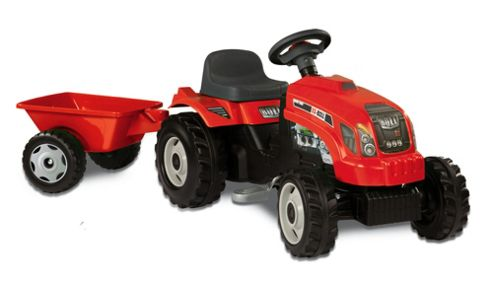 Smoby Red Tractor Ride-On with Trailer
