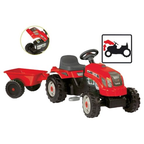 Red Tractor Ride-On With Trailer