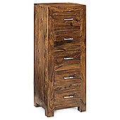 Indian Hub Cube Sheesham Five Drawer Tall Chest