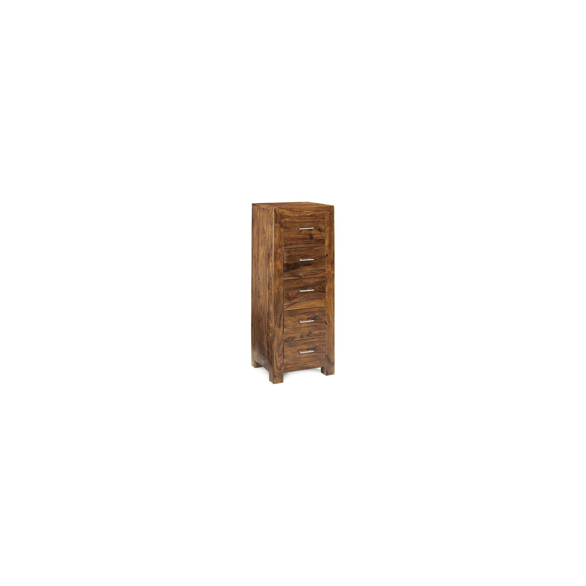 Indian Hub Cube Sheesham Five Drawer Tall Chest at Tesco Direct