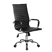 Executive Faux Leather Office Chair - Fully Adjustable Padded Desk Swivel Chair