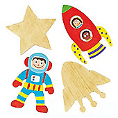 Space Wooden Shapes for Children to Paint, Decorate and Display (Pack of 8)