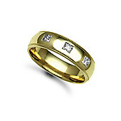 Jewelco London 18ct Yellow Gold 6mm Court Mill-Grain Diamond set 30pts Trilogy Wedding / Commitment Ring