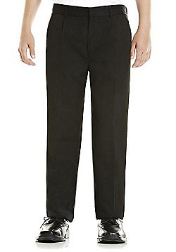 F&F Boys Longer Length Pleat Front School Trousers - Black