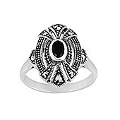 Gemondo Sterling Silver 0.30ct Black Onyx & Marcasite Art Deco Ring