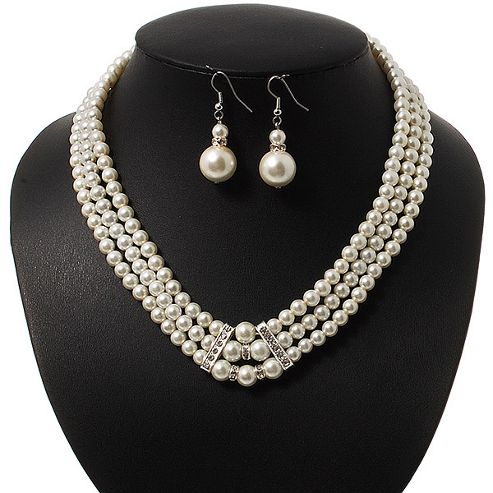 3-Strand Glass Pearl Choker Necklace & Drop Earrings Set In Silver Plated Metal - 36cm Length