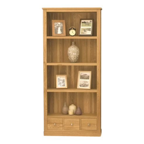 Baumhaus Mobel Oak Large 3 Drawer Bookcase