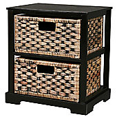 Techstyle 2 Drawer Weave Cabinet - Brown / Black