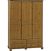Home Essence Balham Three Doors and Four Drawers Wardrobe in Pine