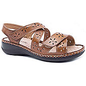 Caravelle Ladies Wide Fit Cut Out Crossover Tan Sandals