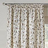 Rectella Leaf Trail Natural Tapestry Look Pencil Pleat Curtains -229cm x137cm