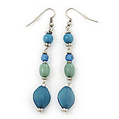 Long Blue, Azure Bead Linear Drop Earring In Silver Tone - 8cm Length