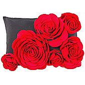 Decorative 3d Rose Cushion - Red / Black