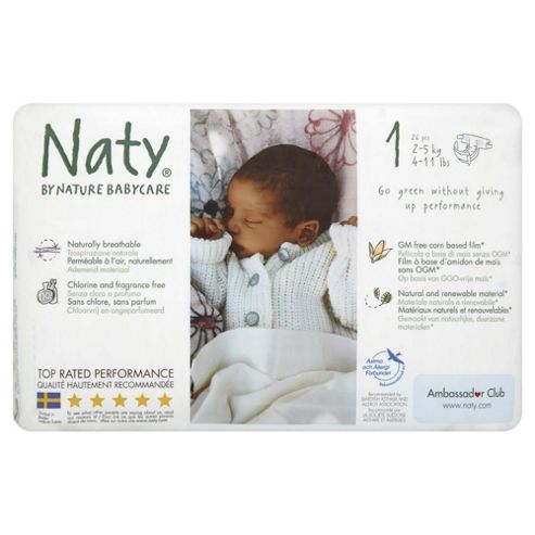 Naty By Nature Babycare Nappies -Newborn - Size 1 - 26 Pack
