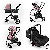Tutti Bambini Riviera Plus 3 in 1 Black Travel System - Dusty Pink/Cool Grey