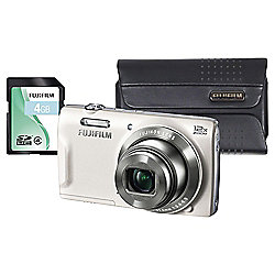 "Fuji T500 Digital Camera Kit, White, 16MP, 12x Optical Zoom, 2.7"" Screen Size, Includes Carry Case & SD Card"