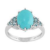 Gemondo Sterling Silver 1.90ct Turquoise, 0.33ct Topaz & 4pt Diamond Classic Ring