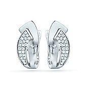 REAL Effect Rhodium Plated Sterling Silver White Cubic Zirconia Smart and Casual Huggie Earrings