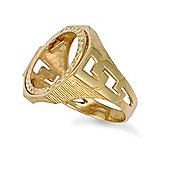 Jewelco London 9ct Solid Gold Half Sovereign hexagonal top coin mount Ring with cub link design shoulders