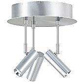 Nordlux Classic Circular 3 Light Ceiling Spotlight - Brushed Steel