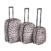 4 Piece Eva Dog Print Luggage Set