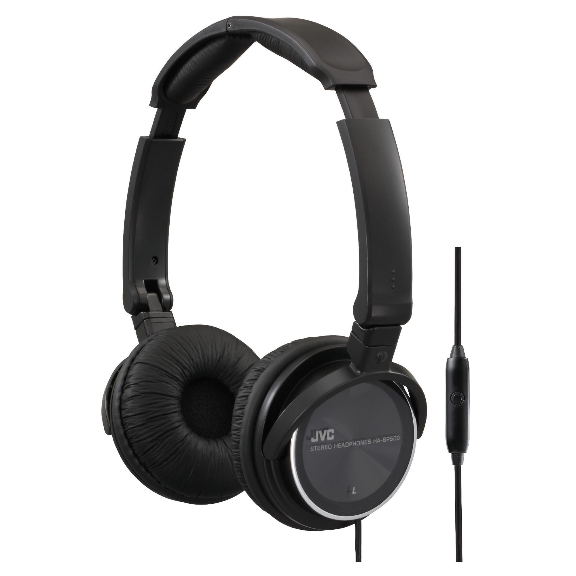 JVC Foldable Lightweight Headphones with Mic Black HASR500B