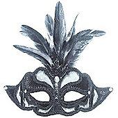 Black Net Mask With Feathers On Headband