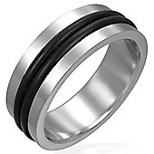 Urban Male Stainless Steel & Black Rubber Men's 8mm Brushed Finish Ring