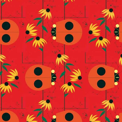 Charley Harper Wrap - Ladybirds