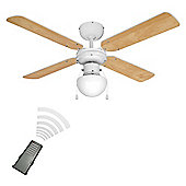 Minisun Nimrod Remote Control 42 inch Ceiling Fan with Light - White