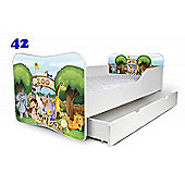 Toddler Bed With Drawer and Mattress - Animals (Medium)