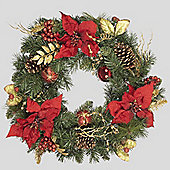 60cm Red Poinsettia Wreath with Gilded Leaves, Baubles & Cones