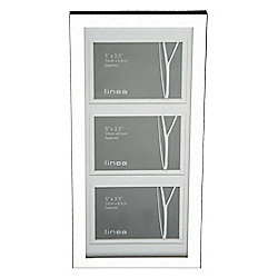 Linea Triple Aperture Modern Plated Photo Frame Silver