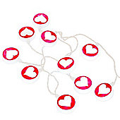 Set of Ten Battery Operated Heart LED String Lights in Pink