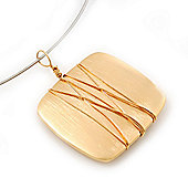Brushed Gold Square Pendant On Flex Silver Wire Choker Necklace - Adjustable
