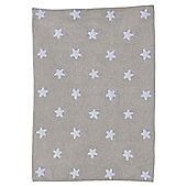 Lorena Canals Linen Stars White Linen Children's Rug - 120 cm W x 160 cm D (3 ft 11 in x 5 ft 3 in)