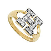 Jewelco London 9ct Gold Ladies' Identity ID Initial CZ Ring, Letter H - Size K