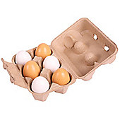 Bigjigs Toys BJ711 Wooden Play Food Six Eggs in Carton