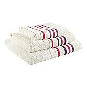 Catherine Lansfield Home java stripe bathsheet, 90x140, Cream & Plum