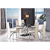 Roma Black Glass and Stainless Steel Frame 150 cm Dining Table with 4 Ivory Alisa Chairs