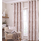 Catherine Lansfield Home Cotton Rich Skandi Leaves Natural Curtains 66x90